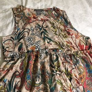 Kate Mallory L low high cream floral paisley